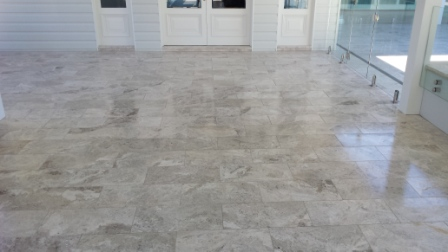 Diamond Brush Slip Resistant Procedure applied to Marble Tiles 2.